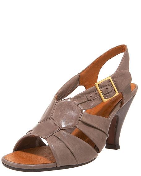 Mid-Heel Honeycomb Slingback Sandal