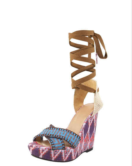 Printed Linen Lace-Up Wedge, Purple