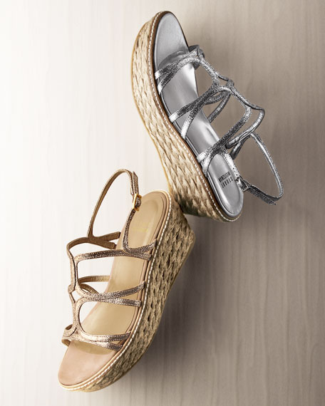 Foursome Glitter Strappy Wedge Sandal