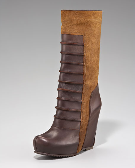 Boxer Leather-Suede Wedge Boot