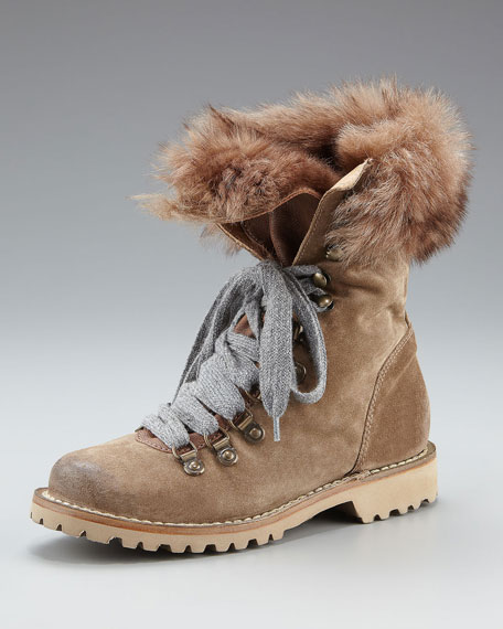 Fur-Lined Suede Hiker Boot