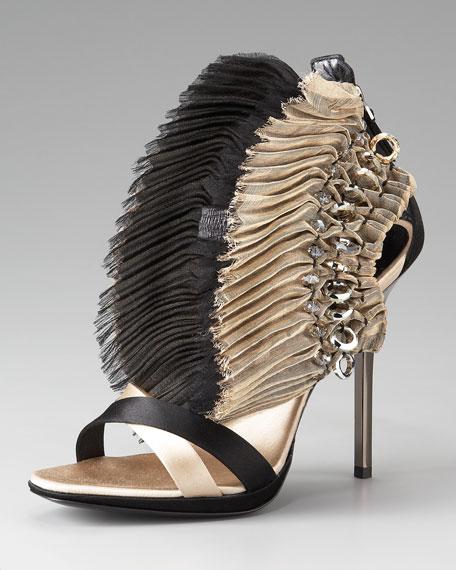 Fanned Zip-Back Sandal