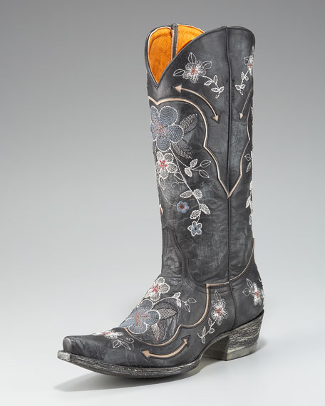 Floral-Embroidered Boot