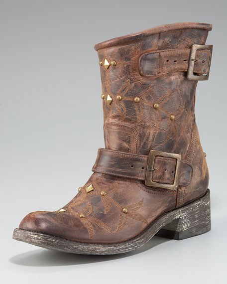 Stitched Motorcycle Boot