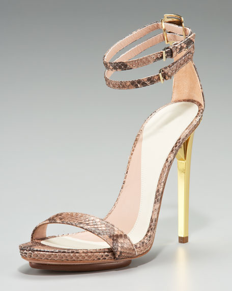 Snakeskin Ankle-Strap Sandal