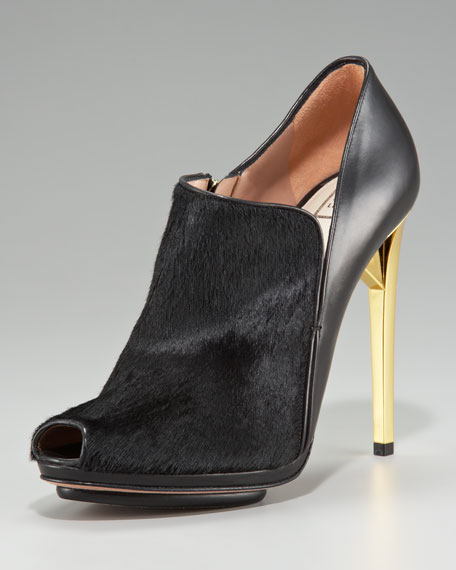 Leather/Fur Combo Bootie