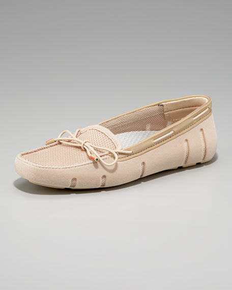 Lace-Front Rubber/Mesh Loafer, Almond