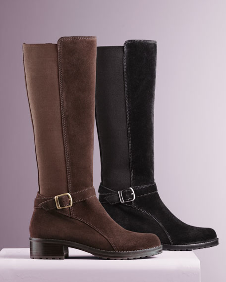 Elastic-Back Suede Boot