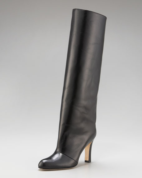 Straight Leather Knee Boot