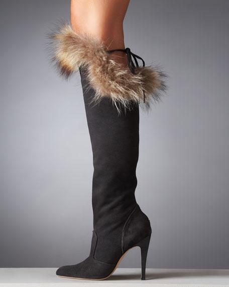 Fur-Trim Knee Boot