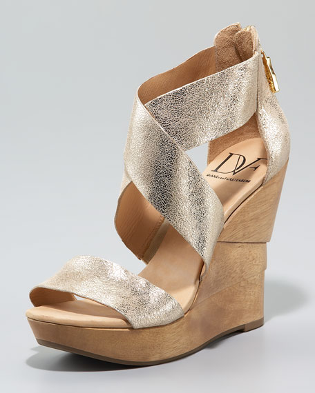 Opal Cracked Metallic Wedge Sandal