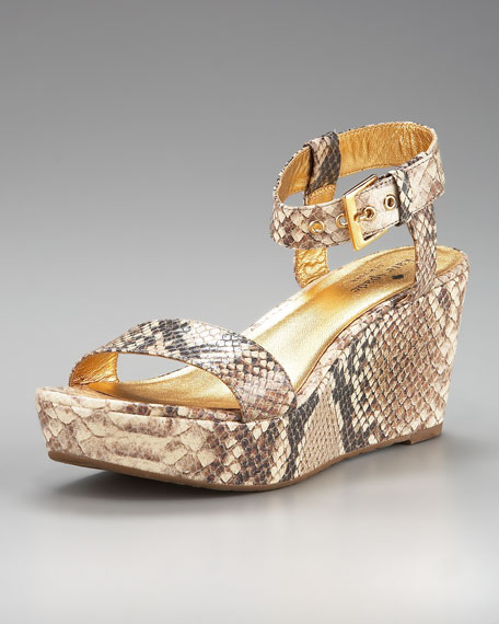 bailyn snake-print wedge sandal