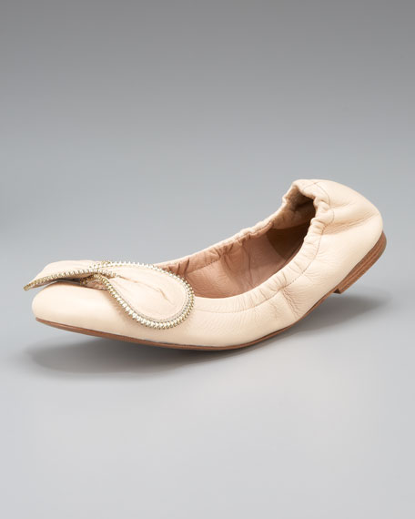 Zip-Detail Bow Ballerina