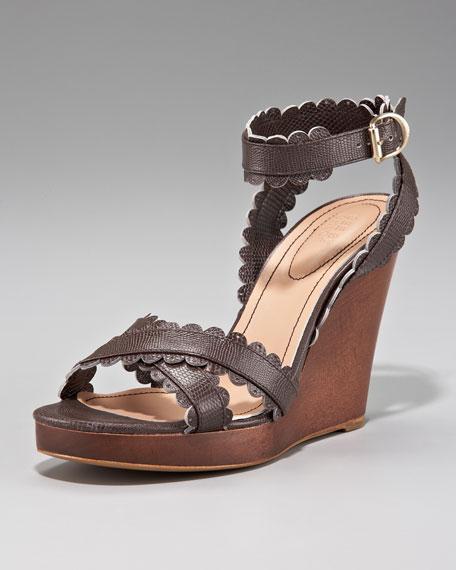Scallop-Strap Wedge Sandal