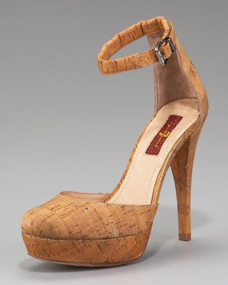 Minty Cork Ankle-Strap Sandal