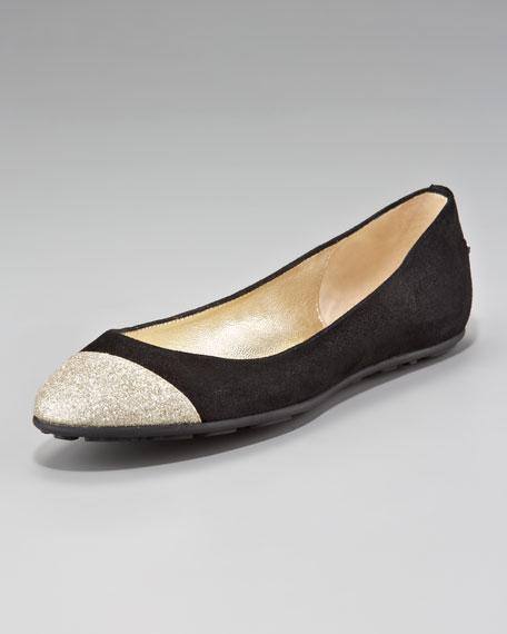 Whirl Glitter-Toe Suede Ballerina