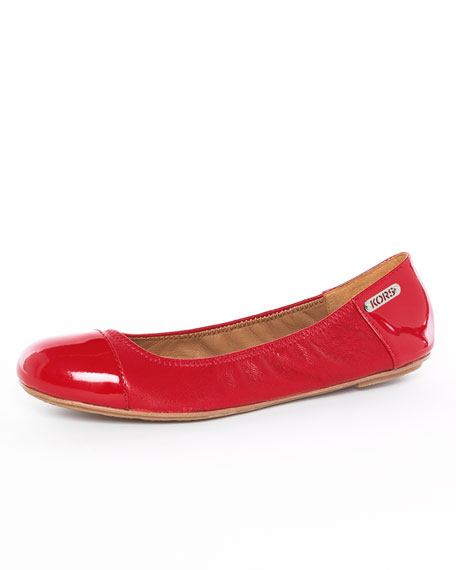Erin Patent Leather Ballet Flat, Crimson