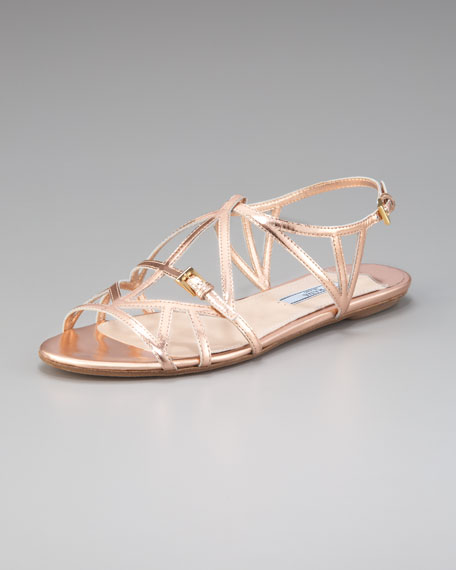Metallic Cutout Sandal with Buckle Detail