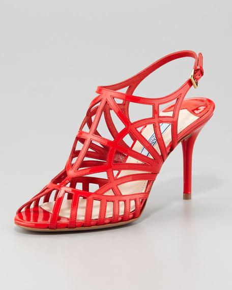 Patent Cutout Slingback Sandal, Lacca