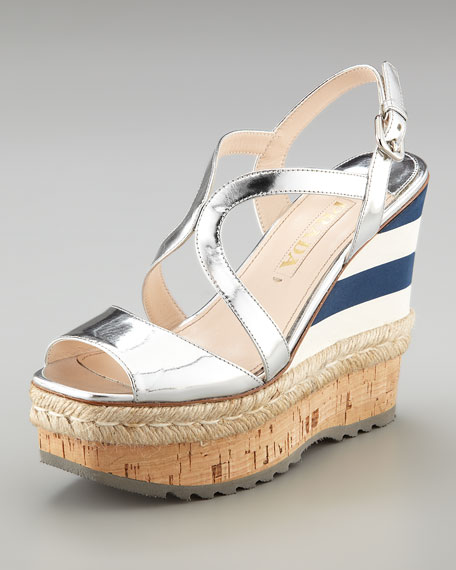 Metallic and Mirco Wedge with Espadrille Detail