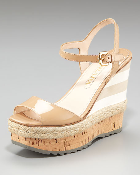 Patent and Micro Wedge with Espadrille Detail