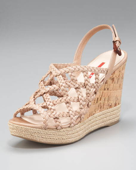 Braided Slingback Wedge