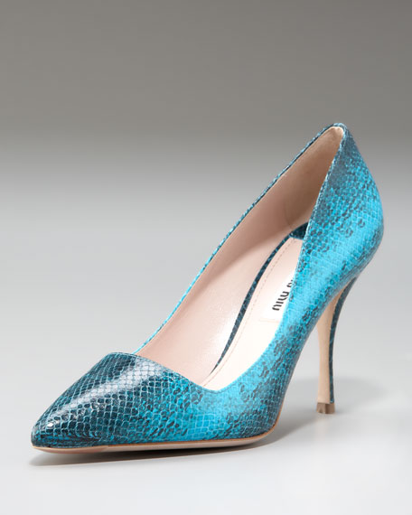 Snake-Stamped Pointed-Toe Pump