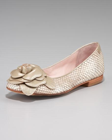 Rosette Snake-Embossed Ballerina Flat, Cream