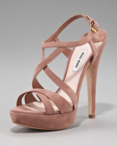 Suede Crisscross Strappy Sandal