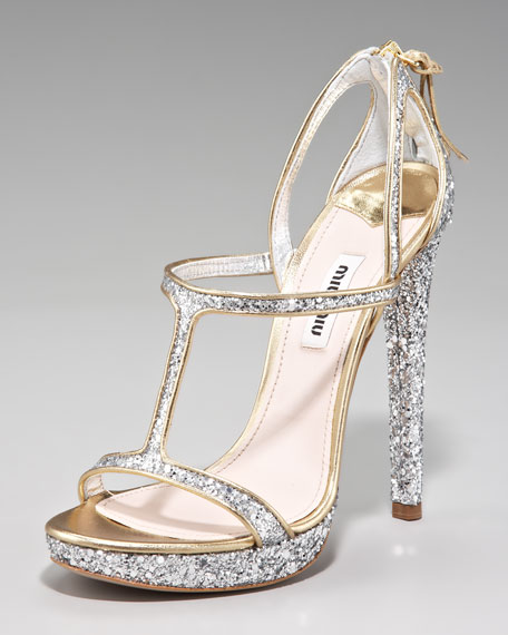 Glittered T-Strap d'Orsay