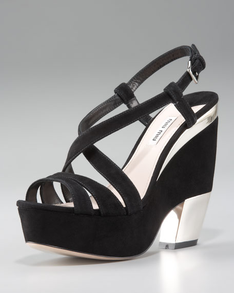 Crisscross Strappy Sandal, Black Suede