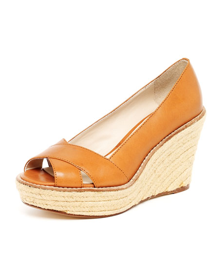Upland Leather Espadrille Wedge Sandal, Luggage