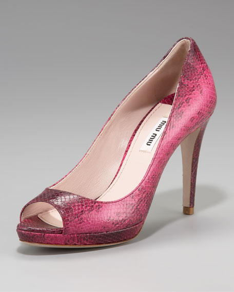 Snake-Embossed Open-Toe Platform Pump