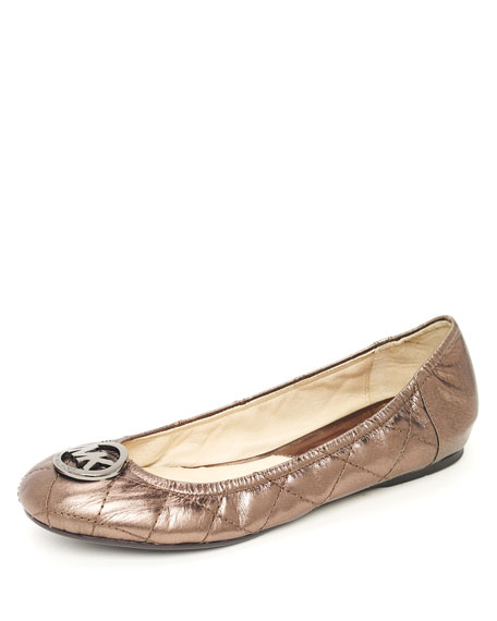 Quilted Metallic Ballet Flat, Anthracite