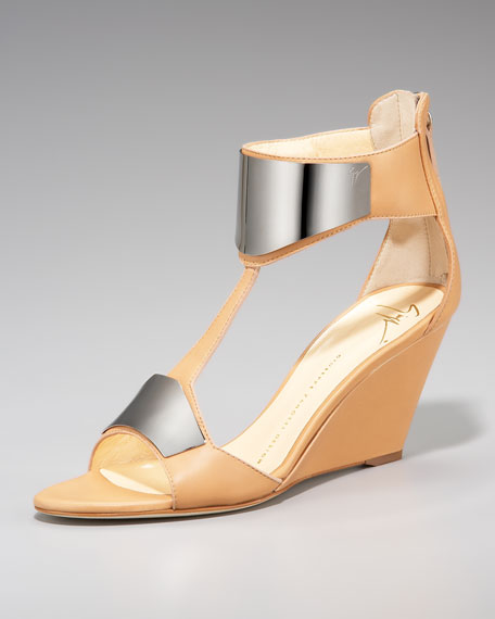Metal-Plate T-Strap Wedge Sandal