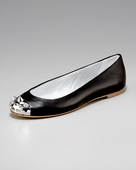 Spike-Cap-Toe Ballerina, Leather