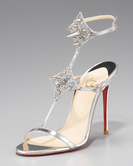 Lady Max Spike T-Strap Sandal, Silver