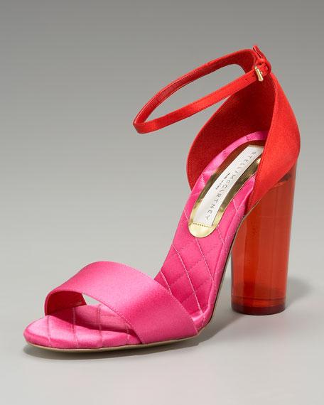 Acrylic-Heel Colorblock Sandal