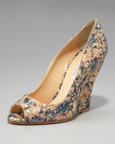 Painterly Cork Wedge Pump