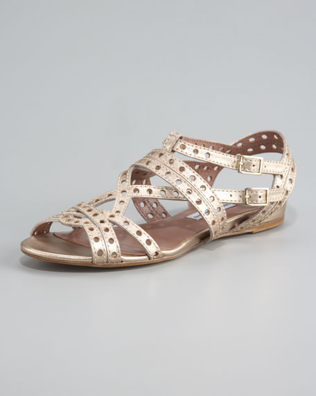 Flat Lattice Strap Sandal, Gold