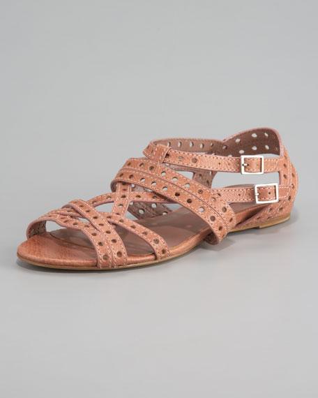 Flat Lattice Strap Sandal, Rose