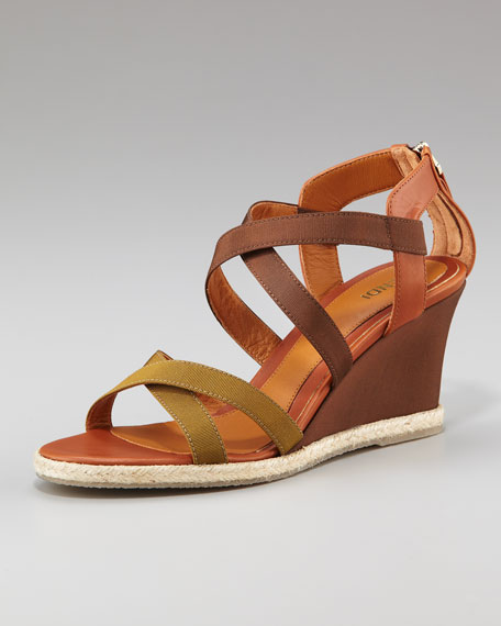 Fendi Crisscross Colorblock Wedge, Muschio/Visone