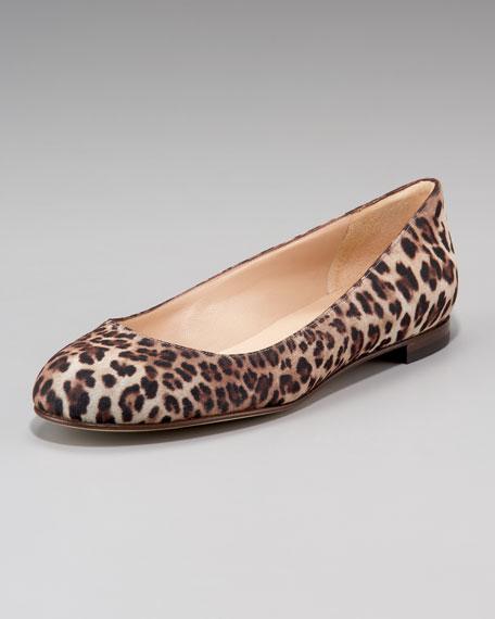 Tere Glittered Leopard-Print Flat