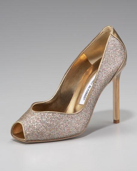 Fataduca Glittered Peep-Toe Pump