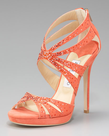Garland Cutout Crystal Suede Sandal