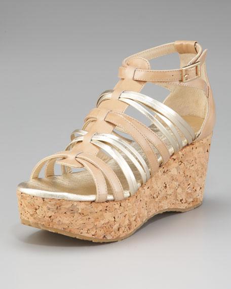 Papira Patent & Metallic Strappy Cork-Wedge Sandal