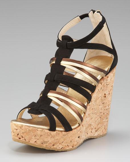 Pekabo Metallic & Suede T-Strap Cork Sandal