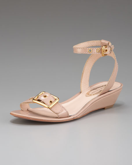 Maddie Low-Wedge Patent Sandal