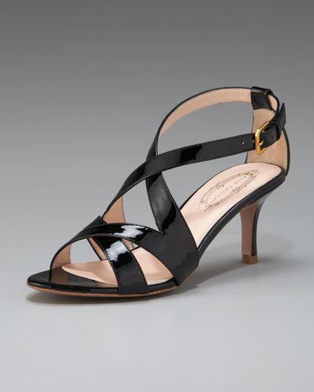 Lenox Patent Mid-Heel Sandal