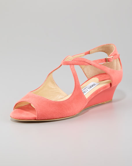 Vida Low-Wedge Sandal, Coral